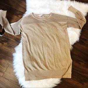 🌸 MICHAEL KORS Gold Sparkle Sweater Zippers Top L